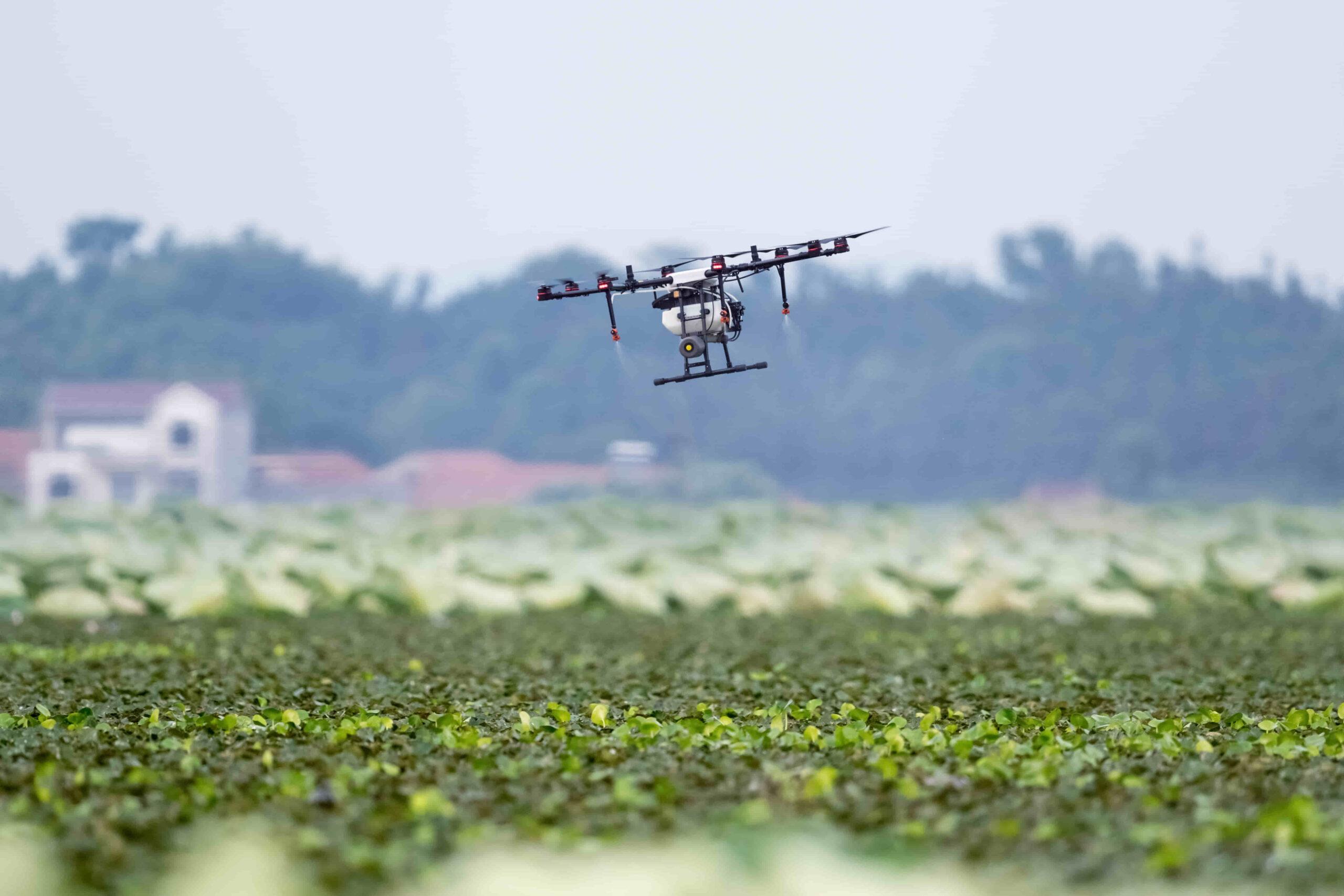 dron agrícola fumigador y pulverizador para el campo